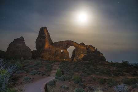 Windows Formation at Night - Arches National Park  photo