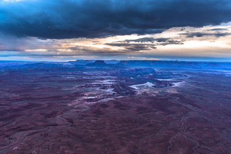 green river: Green River Overlook at Sunset - Canyonlands National Park Stock Photo