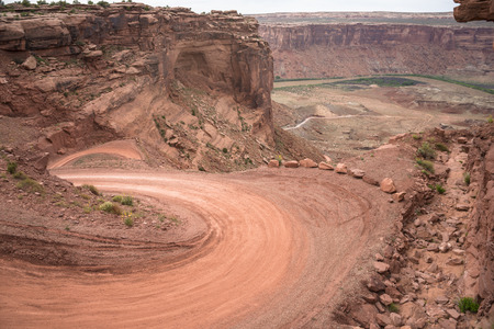 dirtroad: Mineral Bottom Road Switchbacks Utah Stock Photo