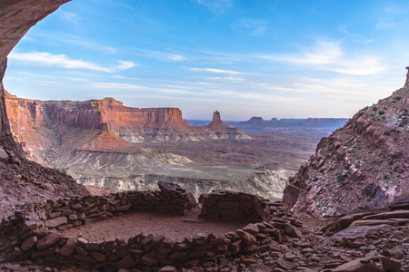 mesas: Anasazi Indian Ruins At False Kiva, Canyonlands Stock Photo