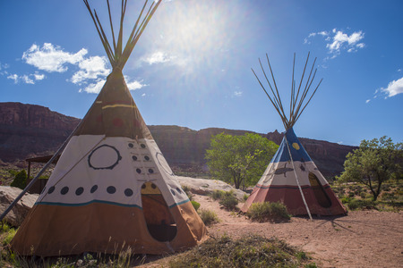 Two indian Teepees against beutiful blue sunny sky & Indian Tent Stock Photos u0026 Pictures. Royalty Free Indian Tent ...