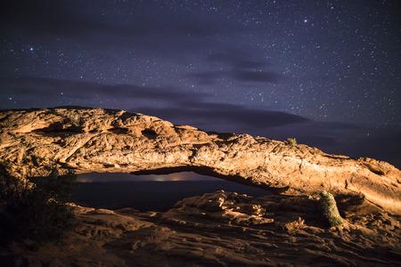 mesa: Canyonlands Mesa Arch at Night - Moab Utah  Stock Photo