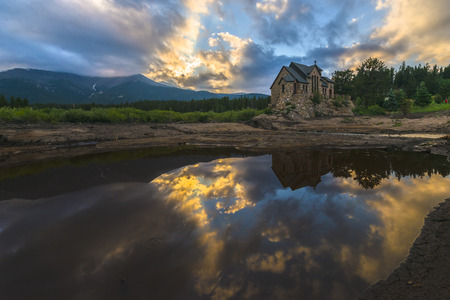 catholic church: Wide angle shot of the Chapel on the Rock, taken after sunset -Allenspark Colorado Stock Photo
