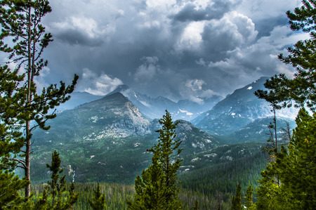 longs peak: The mountains from the left Longs Peak, Storm Peak, Half Mountain, Thattop Mountain- Rockies Colorado Stock Photo
