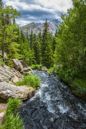 colorado mountains: Glacier creek with Flattop Peak-Rocky Mountain Colorado
