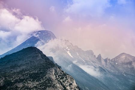 longs peak: Longs Peak from the North, near Flattop Mountain- Rocky Mountain Colorado Stock Photo
