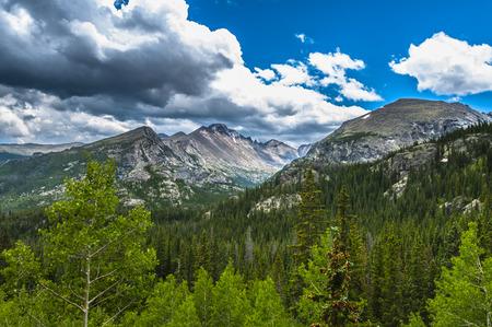 longs peak: The mountains from the left Longs Peak, Storm Peak, Thattop Mountain- Rockies Colorado