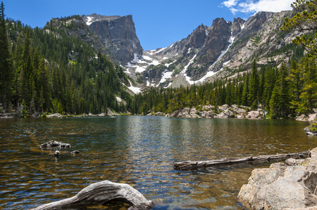 dream lake: Dream Lake with Hallett Peak and Flattop Mountain-Rockies Colorado