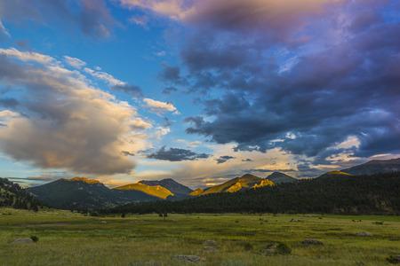 amazing stunning: Beautiful sunset sky over Moraine Park- Rocky Mountain Colorado
