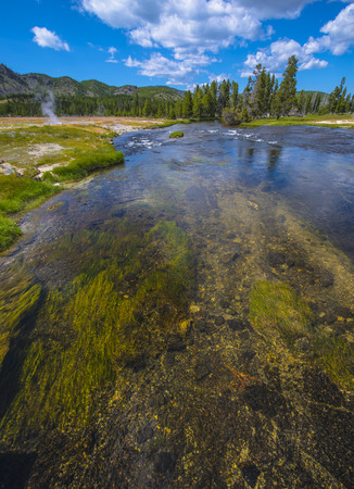 hydrocarbon: Vertical shot of Firehole River Yellonwstone National Park Stock Photo