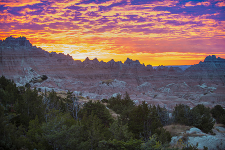 evaporated: Beautiful Sunset in Badlands National Park vicino a Notch e Window Trail -South Dakota