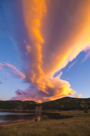 Beautiful Sunset Sky over Barker Reservoir near the Town of Nederland Boulder County Colorado photo