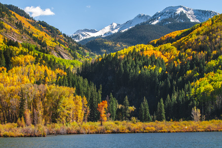 colorado landscape: Beautiful peak autumn colors colorado landscape Beaver Lake Stock Photo