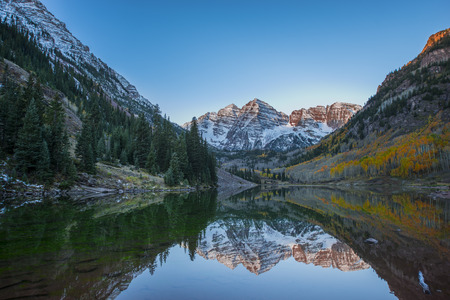 Calm Beautiful September Morning Maroon Bells Reflection in the Lake photo