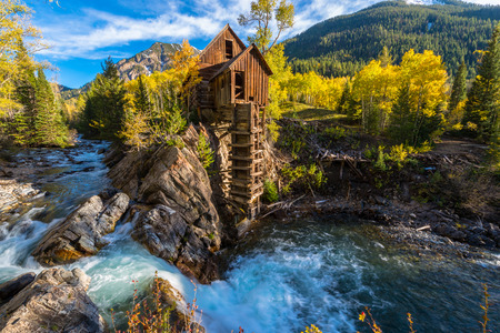 mining town: Crystal Mill Wooden Powerhouse located on Crystal River Colorado