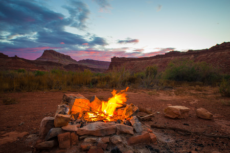 Natural bonfire on the bottom of the canyon after Sunset Utah Landscape