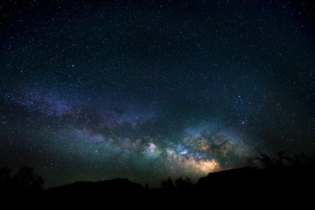 Bright Starry Night with beautiful Milkyway photo