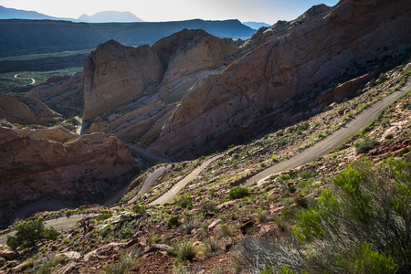 switchback: Early Morning Burr Trail Switchbacks Capitol Reef National Park Utah