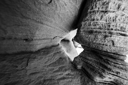 slot canyon: Abstract Sandstone Background Pattern Slot Canyon - Black and White photography Stock Photo