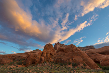 escalante: Beautiful Sunset at Cave Point, Grand Staircase - Escalante National Monument  Horizontal Composition Stock Photo