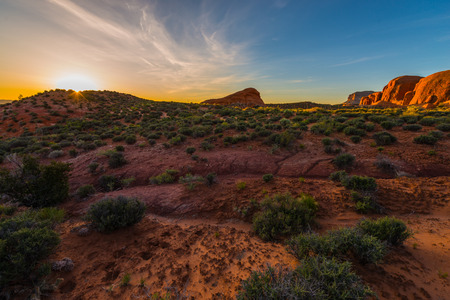 Beautiful Sunrise at Cave Point, Grand Staircase - Escalante National Monument  Horizontal Composition Stock Photo