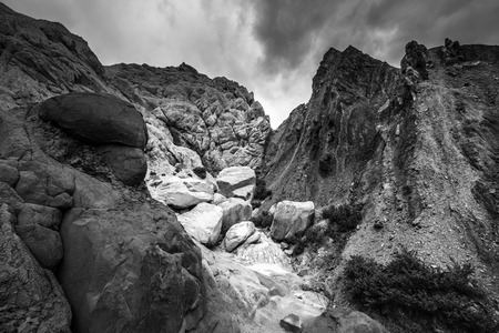 cottonwood canyon: Black and White Rock formations with Dramatic Sky Cottonwood Canyon