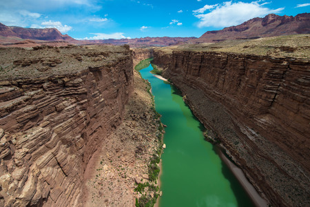 steel arch bridge: View from Navajo Steel Arch Highway Bridge at Colorado river and Marble Canyon, Arizona Stock Photo