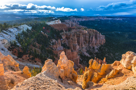 plateau point: Ponderosa Canyon lid by Beautiful Sunset light Bryce Canyon National Park