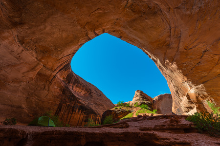 pitched: Several Tents pitched near the Jacob Hamblin Arch, Coyote Gulch