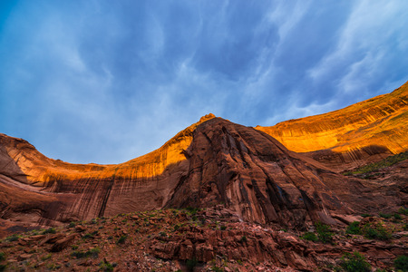escalante: Desert varnish on canyon wall, Coyote Gulch, a tributary of the Escalante River in Southern Utah