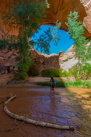 jacob: Woman Hiker Backpacker near Jacob Hamblin Arch Coyote Gulch Grand Staircase Escalante National Monument Utah