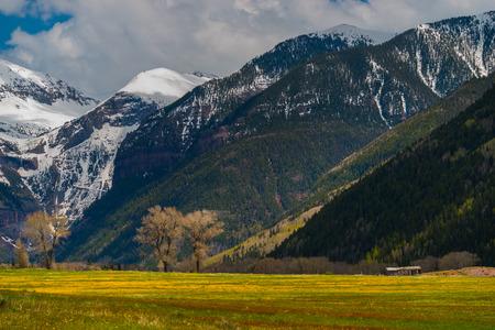 colorado landscape: View towards Telluride, Black Bear Pass Colorado Landscape Stock Photo
