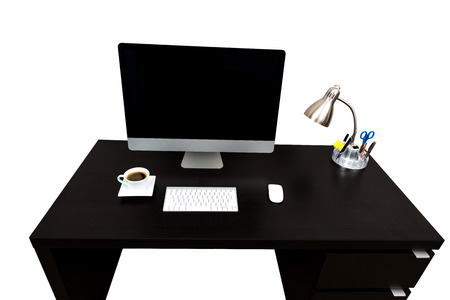 straight line: Modern straight line Computer Desk Coffe isolated over white with copy space