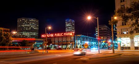 Milwaukee: The Milwaukee Public Market in the Historic Third Ward section of Milwaukee Wisconsin  at night