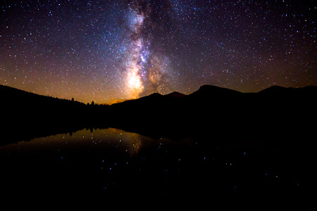 glowing star: Beautiful Milky Way Reflection in Lily Lake Colorado