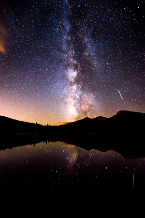lake: Beautiful Milky Way Reflection in Lily Lake Colorado