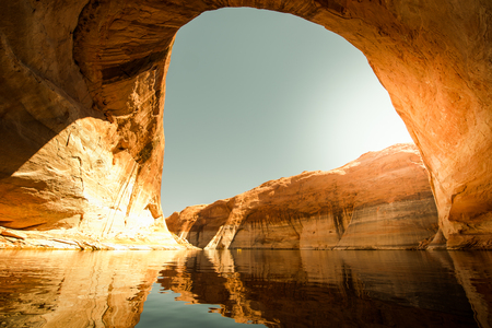 kayaker: Lost Eden Canyon Lake Powell Utah with kayaker in the background