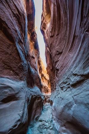 unearthly: Small Narrow Slot Canyon near Peekaboo Utah USA