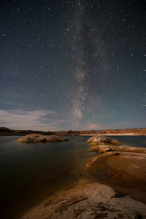Milky Way as seen from the shores of the Lake Powell Vertical composition