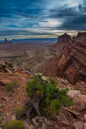 kiva: View from the False Kiva Trail  Island in the Sky, Canyonlands National Park, Utah Stock Photo