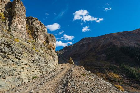 colorado landscape: Ophir Pass narrow curve near the summit Colorado Landscape 4x4 trail Stock Photo