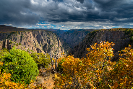 point of view: Fall Colors at Tomichi Point view of layers of cliffs at Black Canyon of the Gunnison
