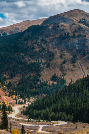 ouray: Scenic autumn landscape by Million dollar high way in Colorado