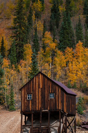 ouray: Old abandoned mining shaft near  Million dollar highway Colorado Stock Photo