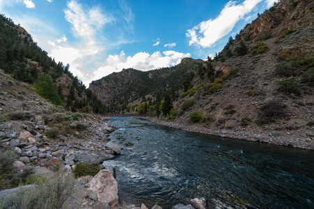 downstream: Crystal Dam is located downstream from Morrow Point Dam Colorado Gunnison River USA