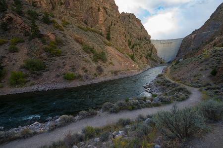 downstream: Crystal Dam is located downstream from Morrow Point Dam Colorado Gunnison River USA
