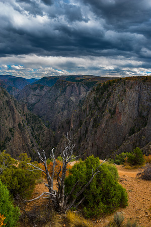 point of view: Tomichi Point view of layers of cliffs at Black Canyon of the Gunnison Stock Photo