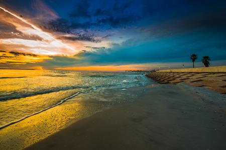pinellas: Fort De Soto Florida fishing pier Beautiful Twilight Sky Pinellas County FL USA