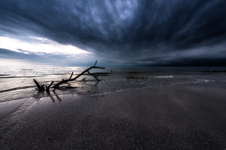 florida landscape: Dark Dramatic Cloud over the Ocean Wide Angle Florida Landscape