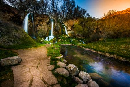 Cascading triple waterfall Rifle Falls Colorado